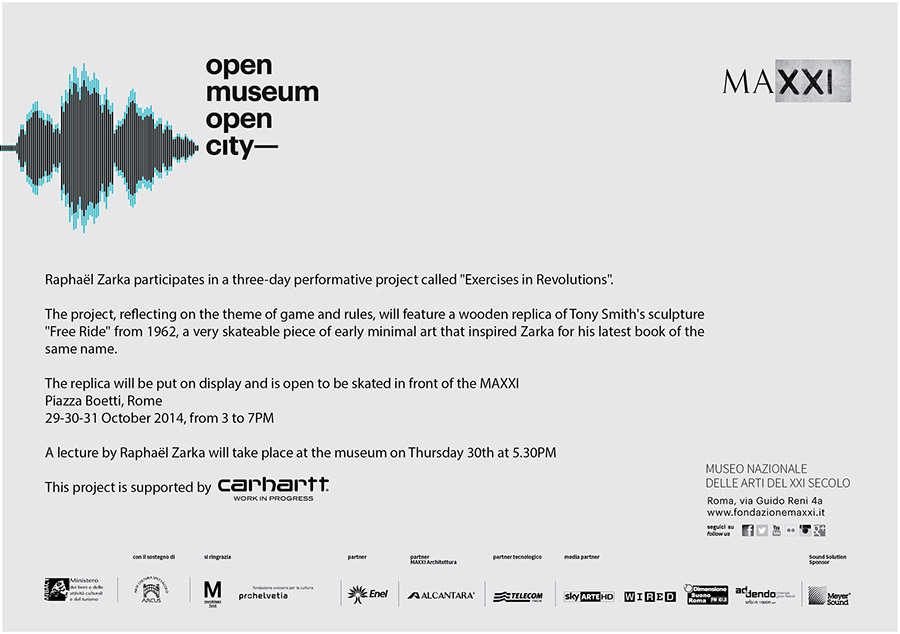 """carhartt presents_""""Free Ride – Exercices in Revolutions""""_Raphael Zarka at MAXXI_Rome."""